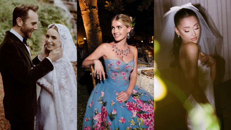 莉莉柯林斯古典蕾絲白紗太美!甜美、仙氣風格都有,2021八位歐美女星的夢幻婚紗盤點
