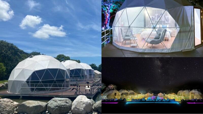 2021花蓮豪華露營「鯉魚潭露營渡假村」有水上球屋!山景前泡湯超享受