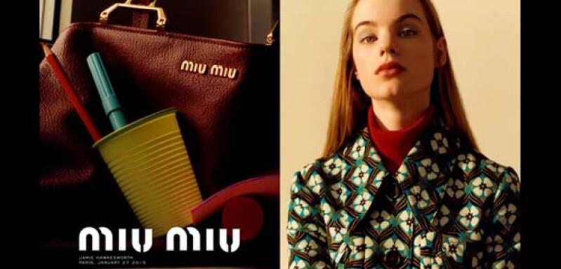 MIU MIU 早秋新片駕到!地磚印花與雙色提包的完美交融