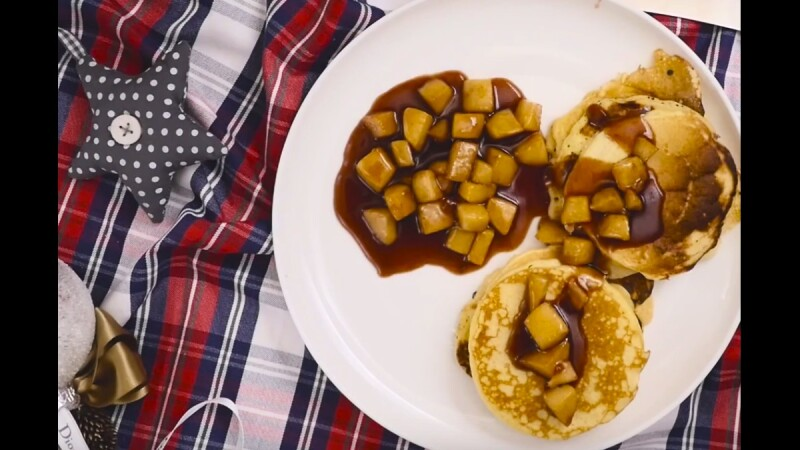 【姊弟煮廚週末上菜】焦糖肉桂蘋果鬆餅 Pancakes with Caramelized Apples