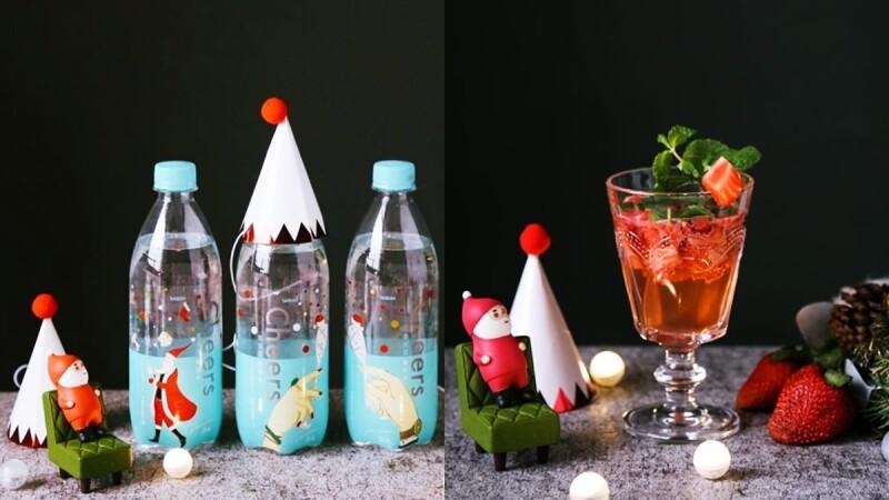 聖誕手繪包裝瓶Cheers氣泡水好可愛!時尚部落客浿機親示範4款氣泡調飲