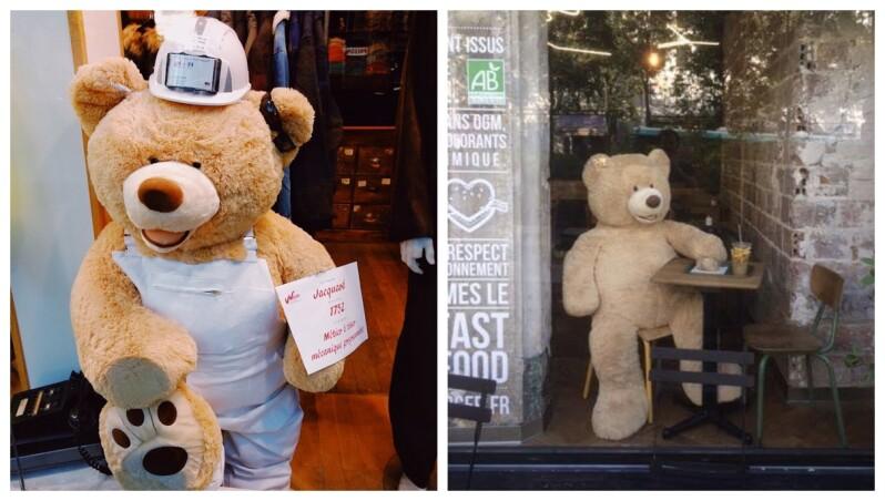 【新鮮事】熊麻吉竟然在時尚之都巴黎的小區裡,打瞌睡、喝咖啡、談生意、試鞋子?可以上哪找熊熊啊?