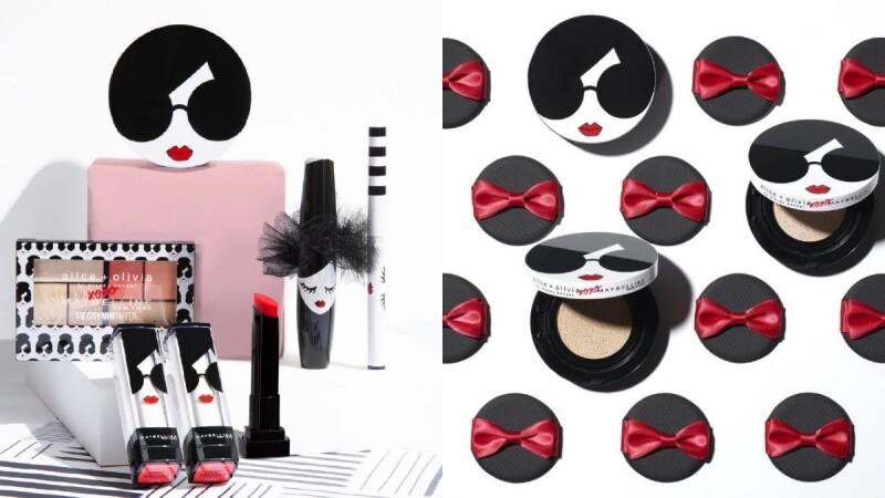絕對是Maybelline媚比琳史上最可愛聯名!找來時尚品牌 Alice + Olivia合作,墨鏡女孩的氣墊粉餅、蓬蓬頭造型的睫毛膏都想要