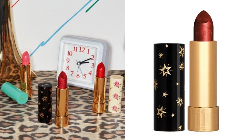 Gucci 2020年全新口紅古馳傾色星輝唇膏Rouge à Lèvres Gothique,黑色管身配上復古金色點點繁星實在太吸睛