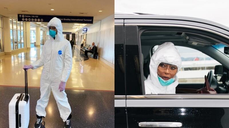 娜歐蜜坎貝兒「防疫機場時尚」最強典範!全套防護裝包緊緊,護目鏡也戴起來,高喊:Safety First