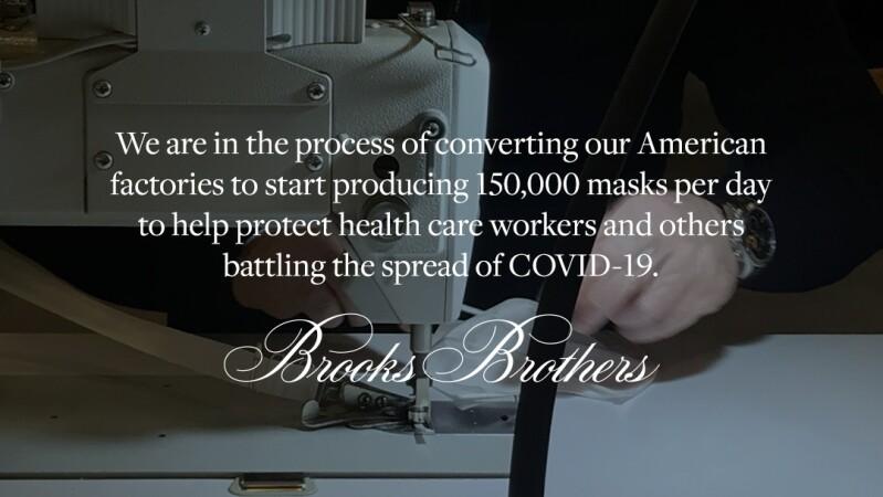 Brooks Brothers西裝生產線改做口罩,員工居家檢疫14天後正式重返崗位開工,日產15萬片!
