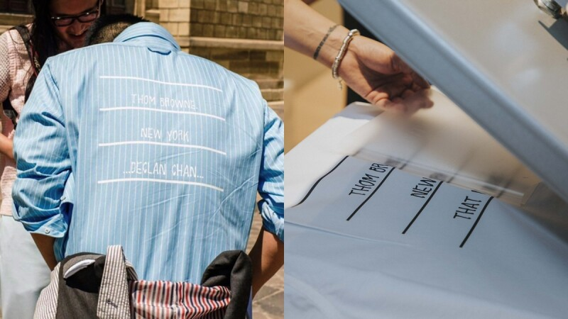 Thom Browne獨家推出客製壓印服務,每一件都是Thom Browne先生的手寫字跡