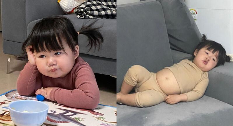 是萌娃還是大叔?!超有戲韓國IG網紅小妹,圓滾滾小肚肚、厭世表情,實在太可愛啦!