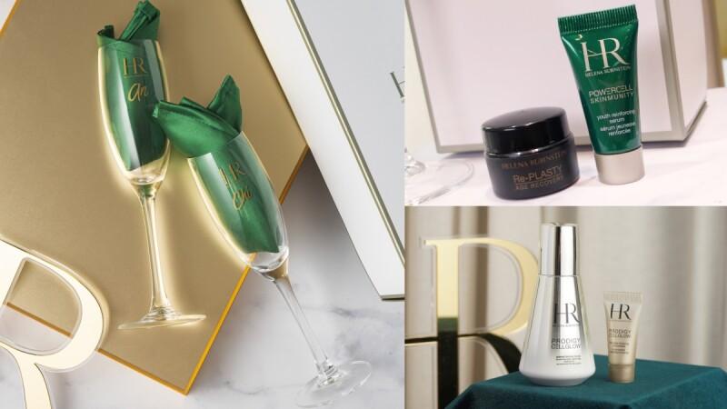HR 赫蓮娜全台第二個專櫃「新光南西」開幕,一百份黑繃帶與綠寶瓶大方送出,還有客製化香檳杯