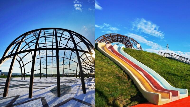 【新北景點】紓壓景點再加一!八里「十三行文化公園」遊戲場完工,20公尺溜滑梯、滑草場徹底放鬆身心