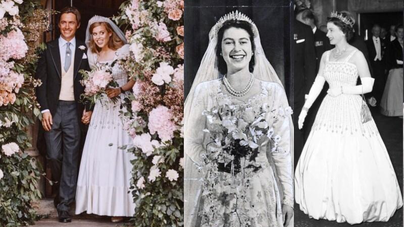 英國皇室婚禮再一發!碧翠絲公主的古典婚紗與冠冕原來是奶奶伊莉莎白二世與祖母瑪麗傳承下來的!