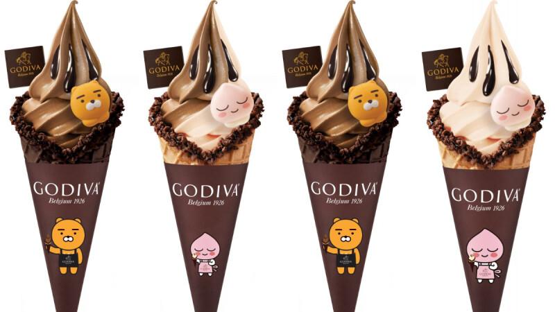 GODIVA X KAKAO FRIENDS超萌聯名!推出萊恩、桃子限定款巧克力霜淇淋,穿上圍裙新包裝太可愛