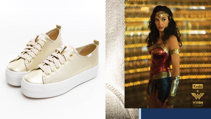 Keds經典小白鞋加了4公分厚底設計!攜手神力女超人推出奢華金限量聯名鞋履