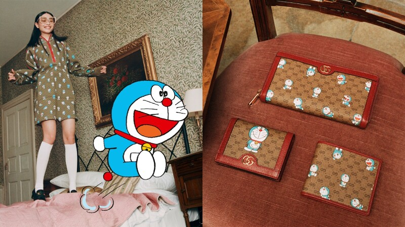 哆啦迷請尖叫!Gucci打造農曆新年哆啦A夢聯名系列,推出復古老花皮夾、穆勒鞋、小圓包