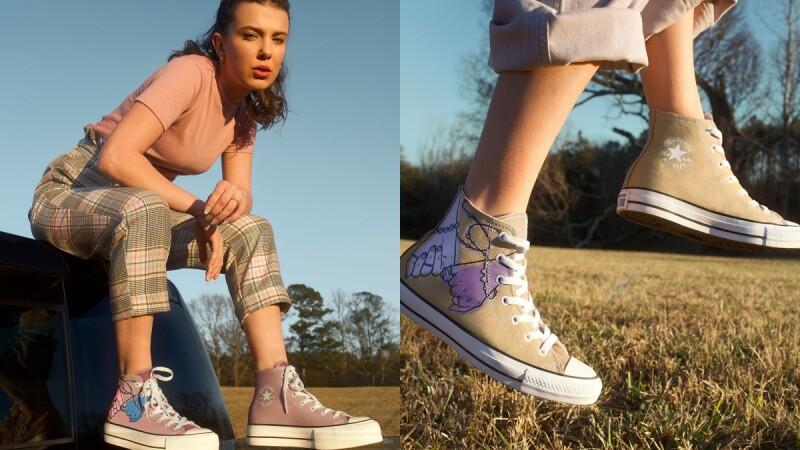 揪閨蜜一起買!《怪奇物語》米莉芭比布朗與Converse三度聯名,推出姐妹「打勾勾手勢」帆布鞋