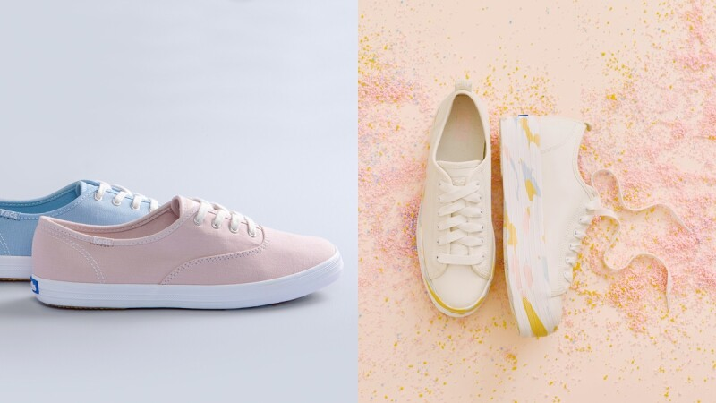 Keds全新推出粉嫩大理石紋小白鞋!奶油白加上厚底設計,另外有馬卡龍配色、印花圖案