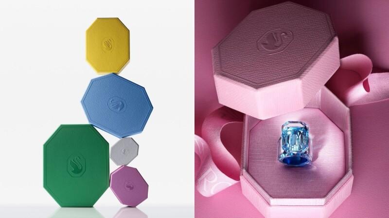 經典小藍盒改頭換面!Swarovski以珠寶切割工藝為題,打造奶油白、丁香紫、寶寶藍…全新八角形包裝盒