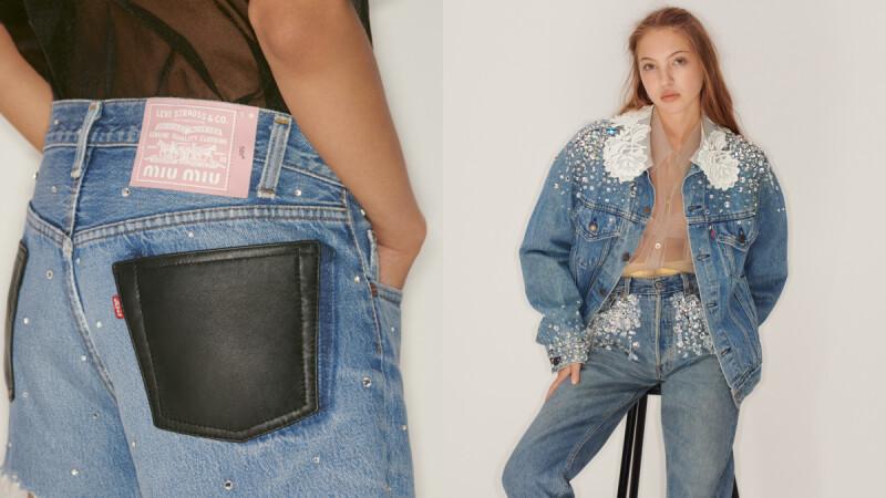 Miu Miu X Levi's聯名系列來了!粉紅色皮標、珍珠、蕾絲刺繡…牛仔褲+丹寧外套也可以這麼夢幻