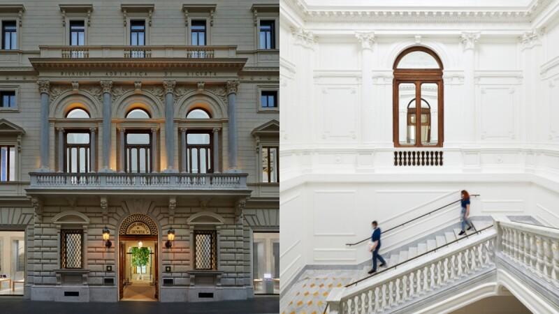 Apple Via del Corso果粉此生必訪Apple Store!改建19世紀羅馬古蹟宮殿,數千小時修復幾何天花板、重現藝術品