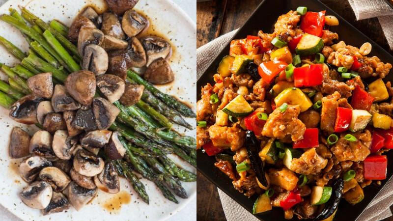 3道減脂期也能任性吃的料理:韓式辣白菜豆腐起司焗蛋/黑胡椒蘑菇蒜炒蘆筍/雙椒辣炒雞丁 食譜來了!