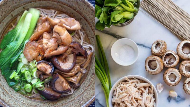 低脂少油懶人餐—香菇雞肉燜蕎麥麵食譜來了!3步驟完成,美味又吃不胖!