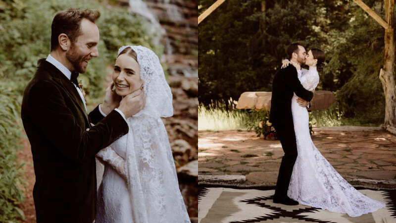 莉莉柯林斯結婚了!披白紗甜嫁導演男友,絕美婚紗照曝光