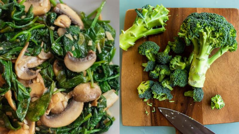 蒜蓉綠花椰菜/菠菜涼拌秀珍菇/蘆筍清炒蝦仁,這3道低脂料理含有豐富葉酸,女人要多吃!