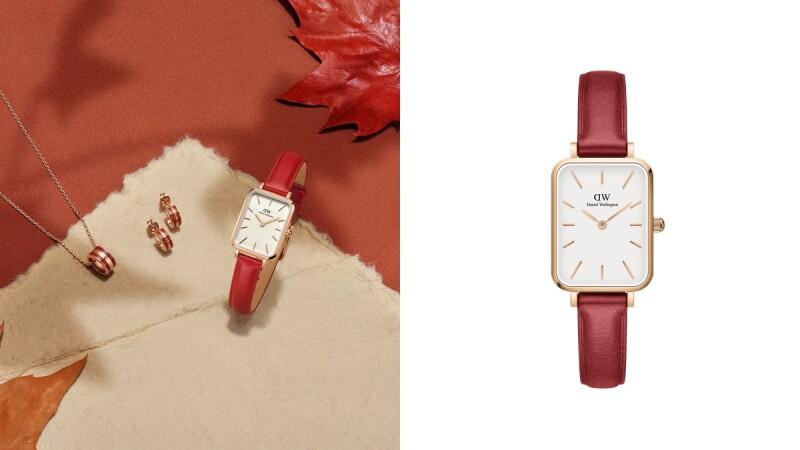 DW氣質方錶Quadro推出楓葉紅新色,2種尺寸、蛋殼白錶面、專屬玫瑰禮盒