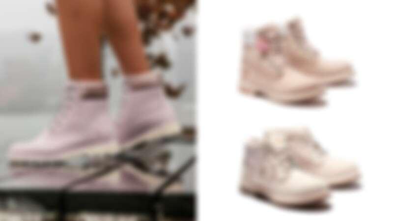 Timberland默默再上架櫻花粉拼接短靴,還有愛心刺繡圖案的霧灰粉高筒靴